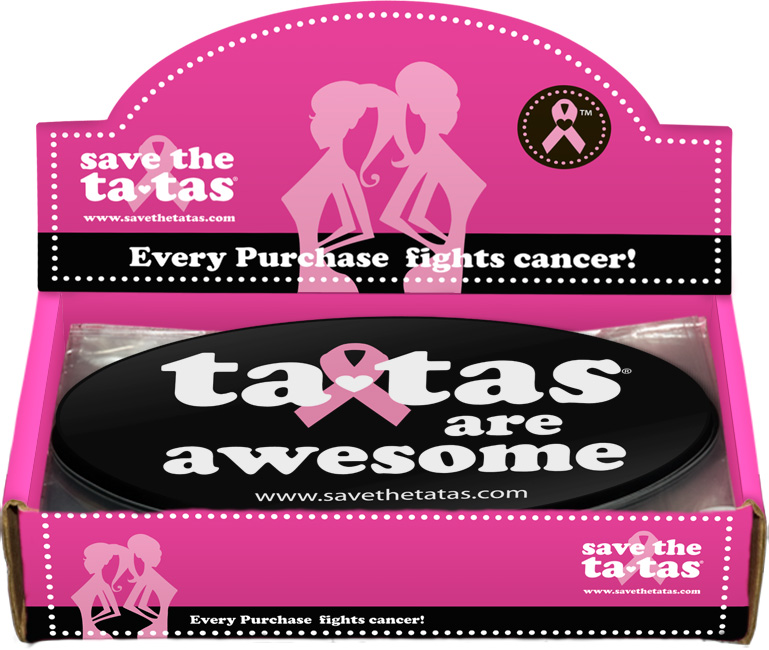 """Ta-Tas Are Awesome"" Bumper Magnet - Black - 48 pack"