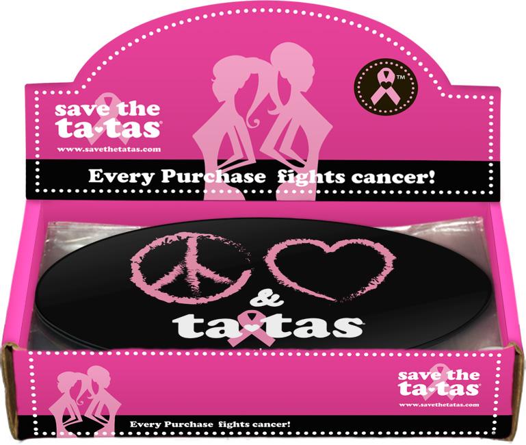 Peace, Love & Ta-Tas Bumper Magnet - Black - 48 pack