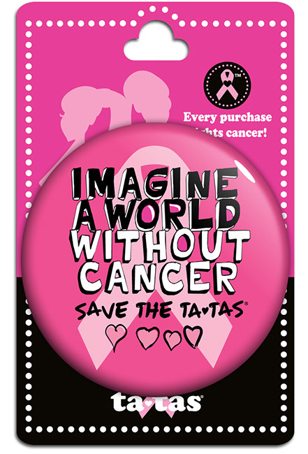 Imagine a World Without Cancer Large Button - Fuchsia