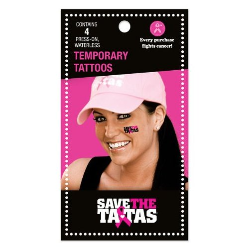 Save the ta-tas Waterless Temporary Tattoos - 4 Pack [Misc.]