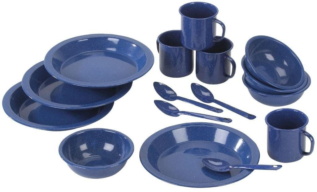 Stansport enamel camping tableware set royal blue for Kitchen set royal