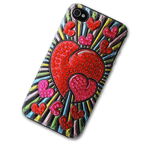 iPhone 4/4S Case with 3D Red Hearts