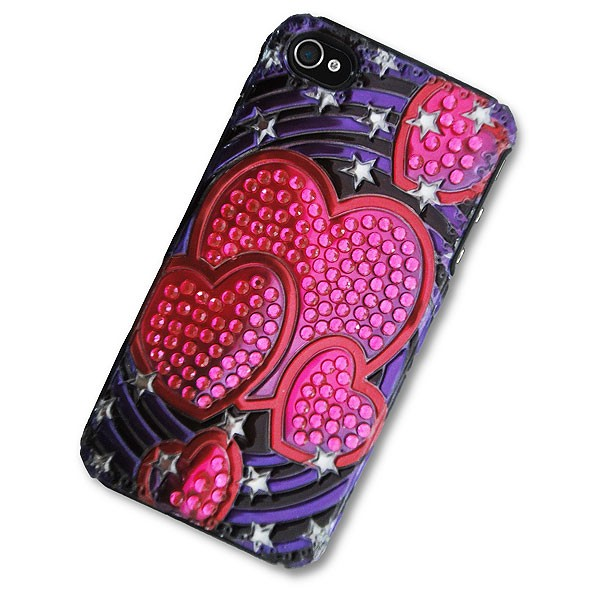 iPhone 4/4S Case with 3D Pink Hearts