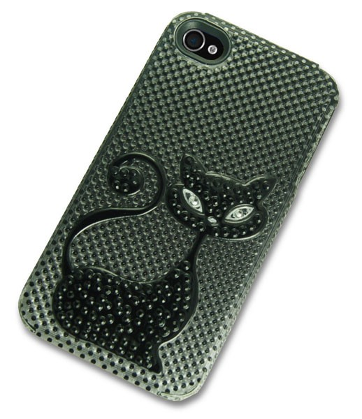 iPhone 4 Case with 3D Black Cat