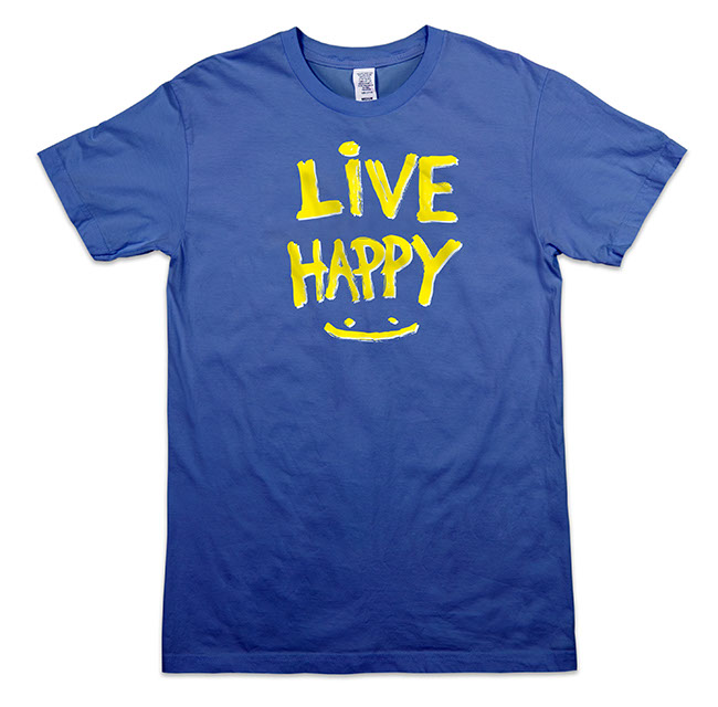 Live Happy Smiley Men's Tee - Royal Blue