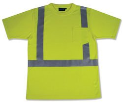 T-Shirt Hi-Visibility - ERB Class 2 ANSI Short-Sleeve Lime Green | Large