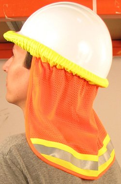 ERB Hard Hat Mesh Neck Sun Shield, Hi Viz Orange, Heat Stress Relief, #19282