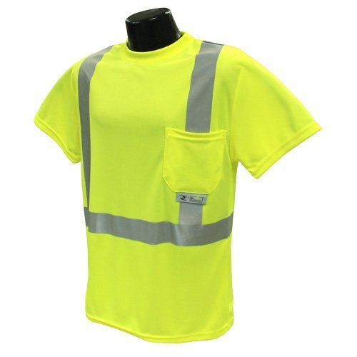 Class 2 T-Shirt, Hi-Vis Green Wicking Mesh, Large, Reflective Tape, 1 Pocket