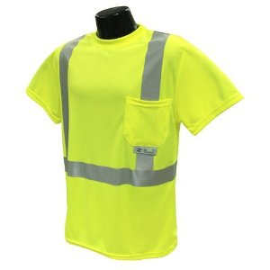 Class 2 T-Shirt, Hi-Vis Green Wicking Mesh, 2XL, Reflective Tape, 1 Pocket