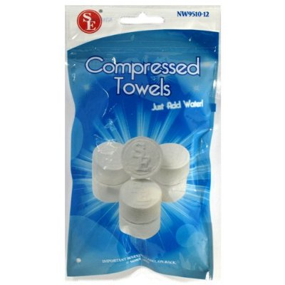 12 PK Travel Camping Magic Compressed Towels - Add water watch it grow [Misc.]