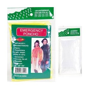 4 PACK - MUST HAVE item! Emergency Rain Coat Rainwear w/ Hood & Sleeve - Clear