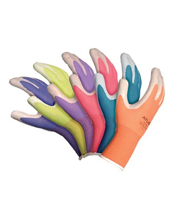 6 Pack Atlas Glove NT370 Atlas Nitrile Garden Gloves - Medium (Assorted Colors)