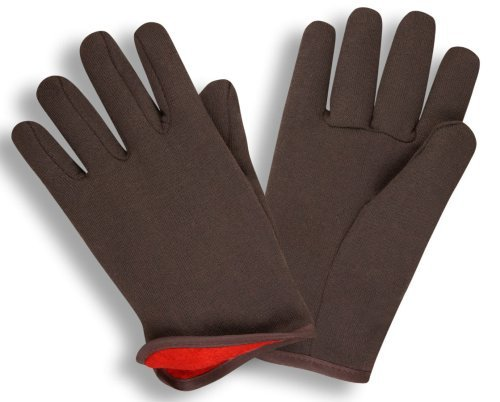 G & F 4414L-DZ Brown Jersey gloves with Red Fleece Lined, Winter Gloves, Larg...