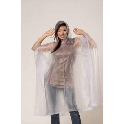 Clear Emergency Rain Poncho Coat Rainwear w/ Hood & Sleeve [Misc.]