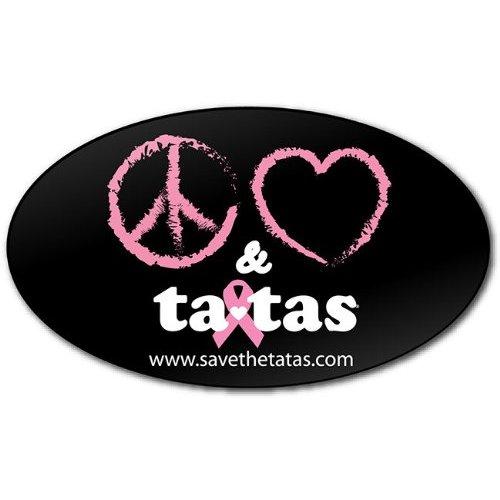 Peace Love & ta-tas Bumper Magnet - Black [Misc.]