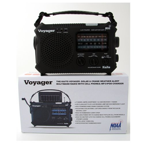 KAITO KA500 VOYAGER - SOLAR & CRANK WEATHER ALERT MULTIBAND RADIO w/ CELL PHO...