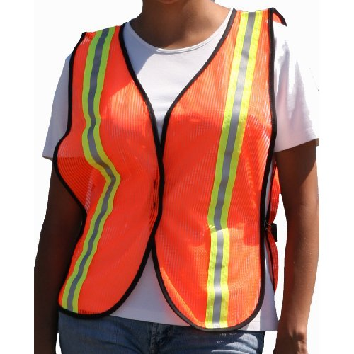 "Gold Belt Hi-Viz Orange Youth 1.5"" 3M Vertical Reflective Tape Striped Vest"