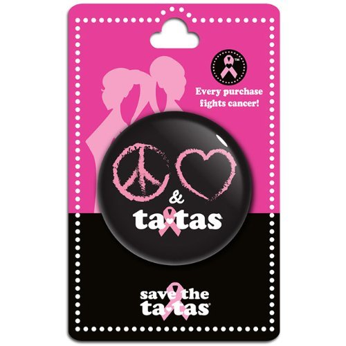Peace Love & ta-tas Button - Black [Misc.]