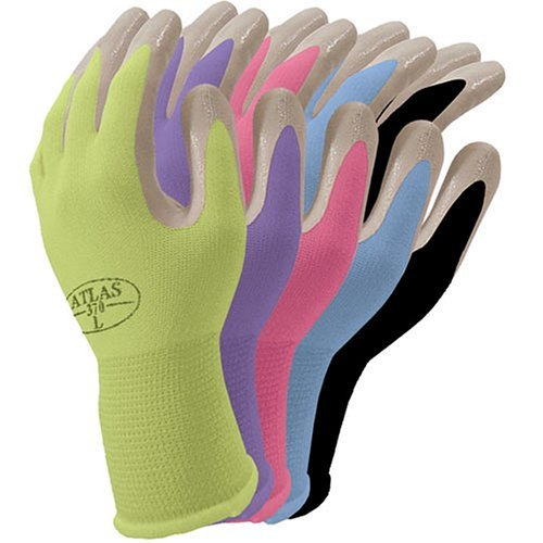 Atlas NT370 Nitrile Garden and Work Gloves, Dahlia Pink, Medium [Misc.]