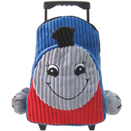 Kids Blue Rolling Backpack With Train Stuffie -Affordable Gift for your Littl...