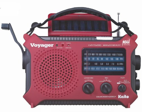 Kaito Voyager KA500IP Solar/Dynamo AM/FM/SW NOAA Weather Radio with Alert & C...