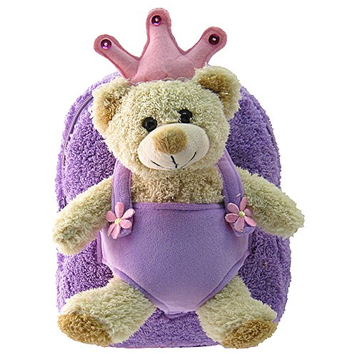 Kids Purple Backpack With Bear King Stuffie -Affordable Gift for your Little ...