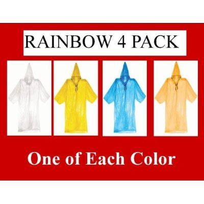 4 PACK Rainbow - MUST HAVE item! Emergency Rain Poncho Coat Rainwear w/ Draw ...
