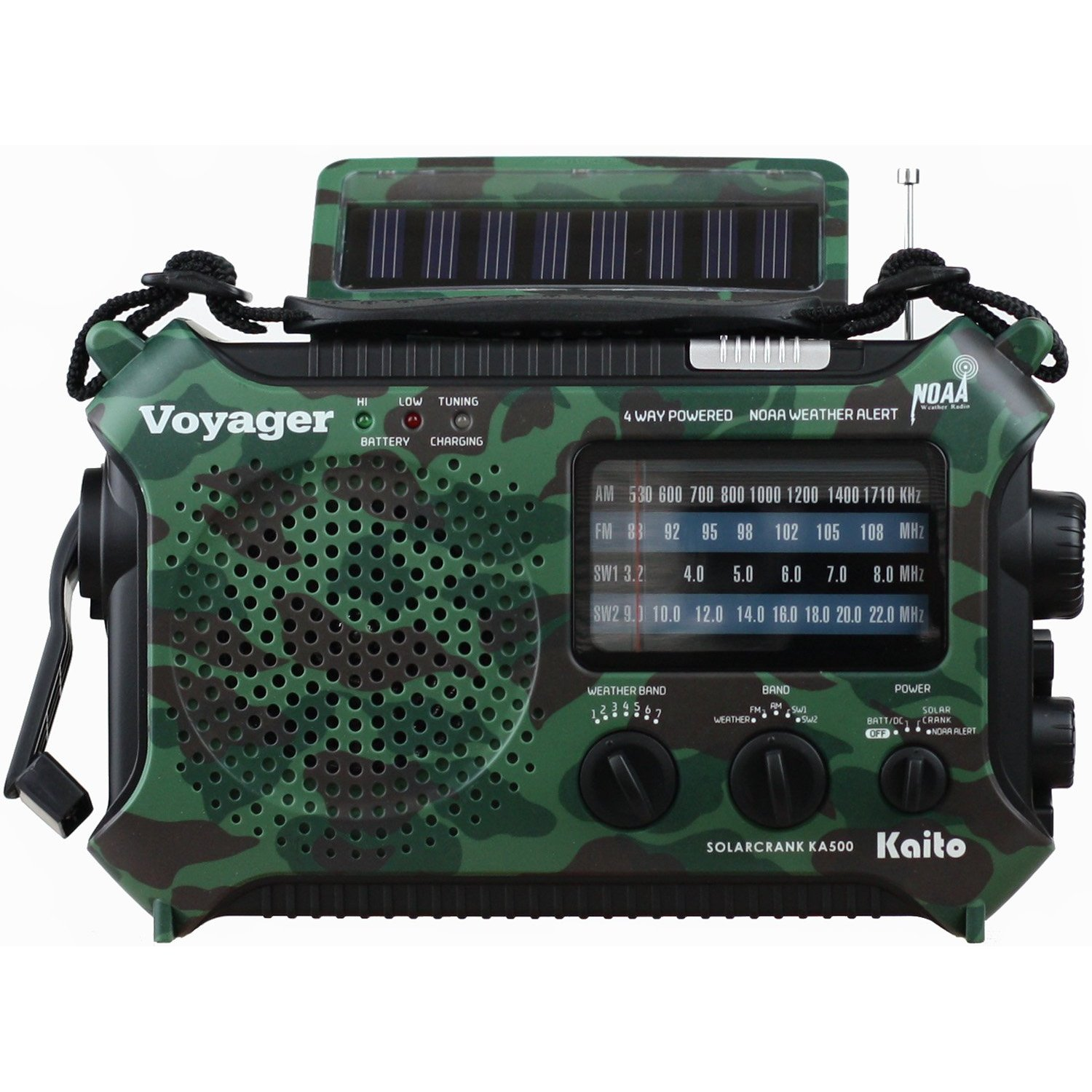 Kaito Voyager KA500 Solar/Crank Emergency AM/FM/SW NOAA Weather Radio, Camouf...
