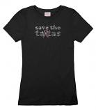 Save the ta-tas Bling Tee - Black
